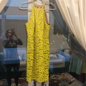 Trina Turk Parry yellow lace sheath dress